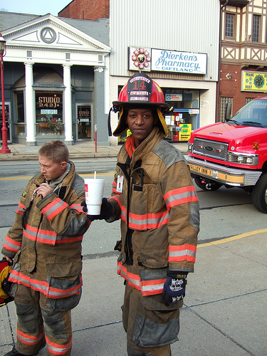 Elliot (on right) takes a break. His dad was one of the people displaced by the fire.