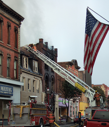 Fire on West Main St. Monongahela PA looking southwest