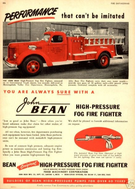 """Monongahela Fire Truck featured in 1948 issue of """"Fire Engineering"""""""