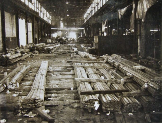 View of steel storage area looking towards shearing machines.