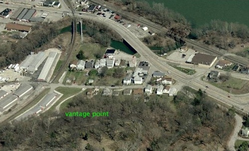 Aerial view of Pigeon Creek in Monongahela PA, an area formerly known as Catsburg.