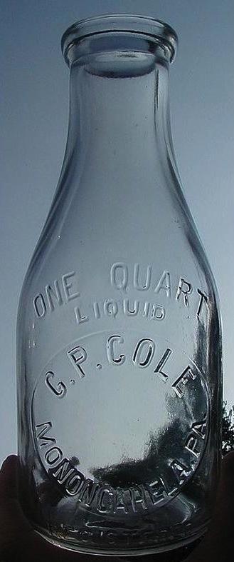 G.P. Cole Milk Bottle, Monongahela PA
