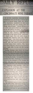 Cincinnati Mine Disaster Article - from The Daily Republican, April 23, 1913 (click to view full size)