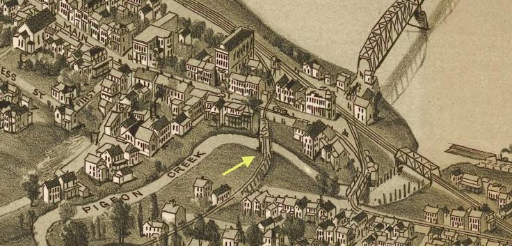 Railroad crossing Pigeon Creek and Main Street, Monongahela PA. 1902